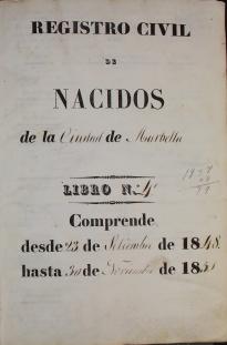 REGISTRO DE NACIMIENTOS DE 1848 A 1858